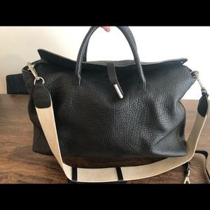 Kenneth Cole Black Embossed Leather Tote
